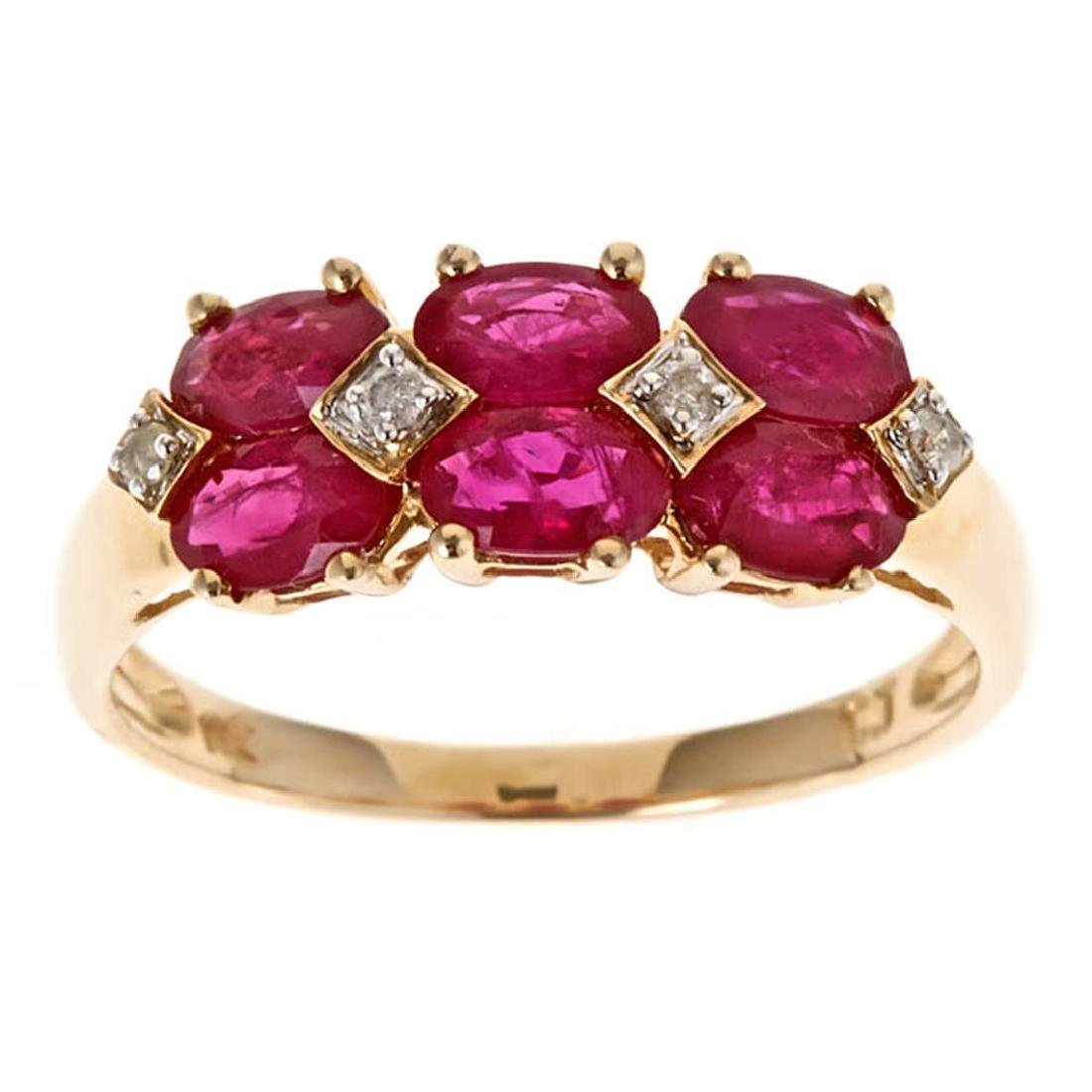 2.09 ctw Ruby and Diamond Ring - 14KT Yellow Gold