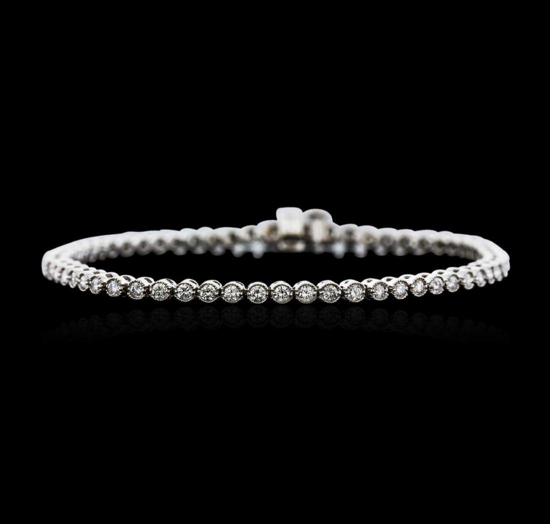 14KT White Gold 1.87 ctw Diamond Tennis Bracelet