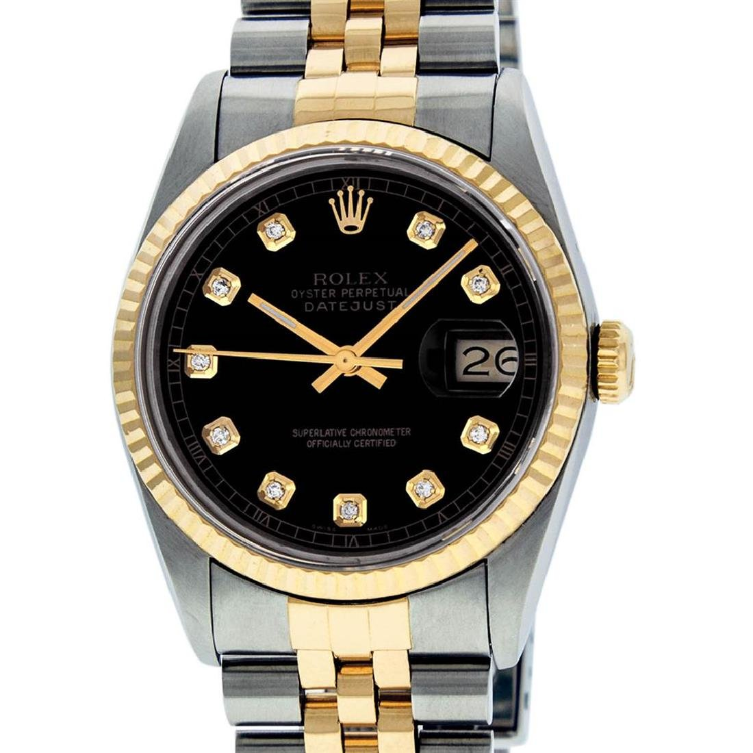 Rolex Mens 2 Tone 14K Black Diamond 36MM Datejust