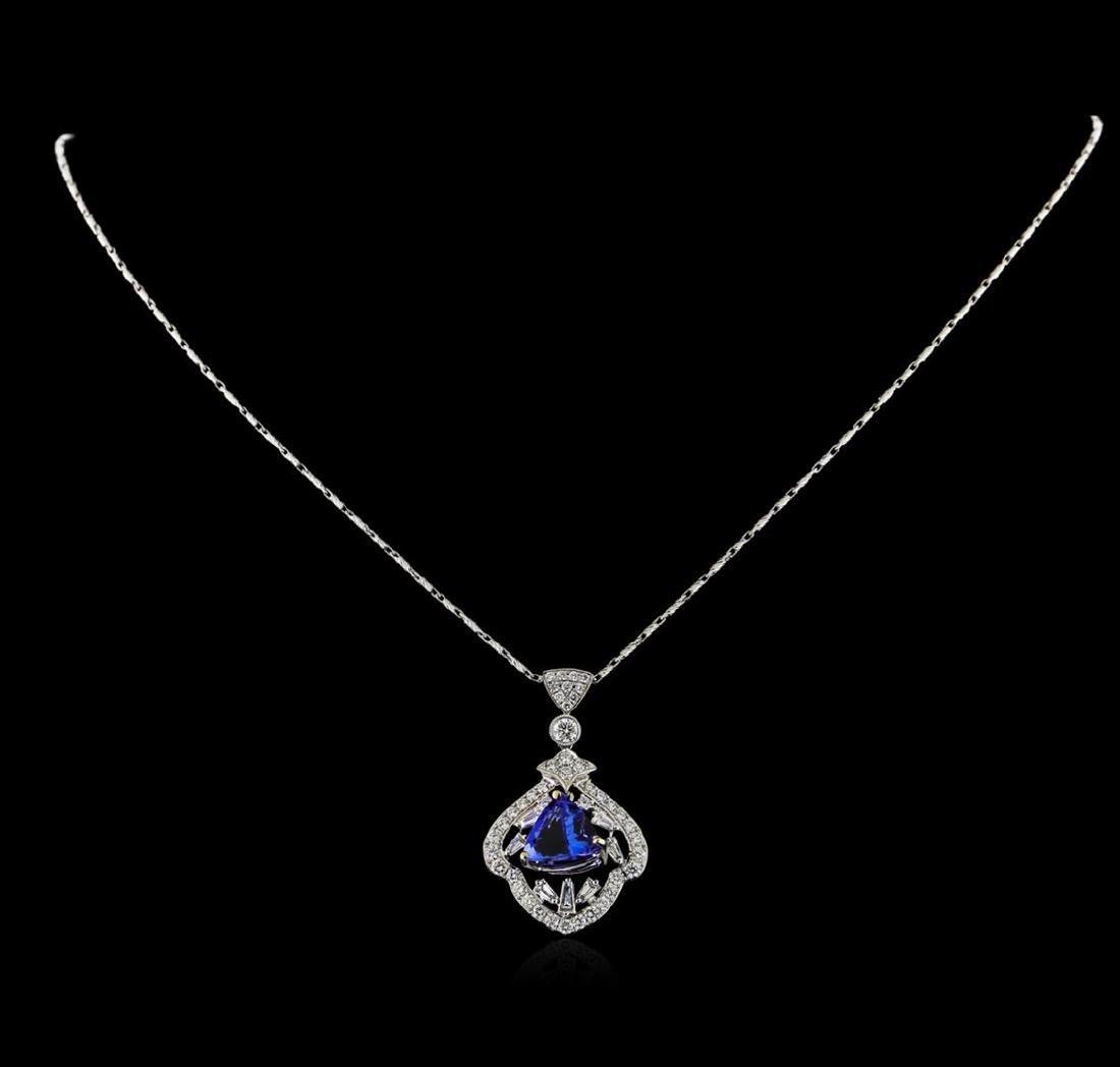 18KT White Gold 3.61 ctw Tanzanite and Diamond Pendant