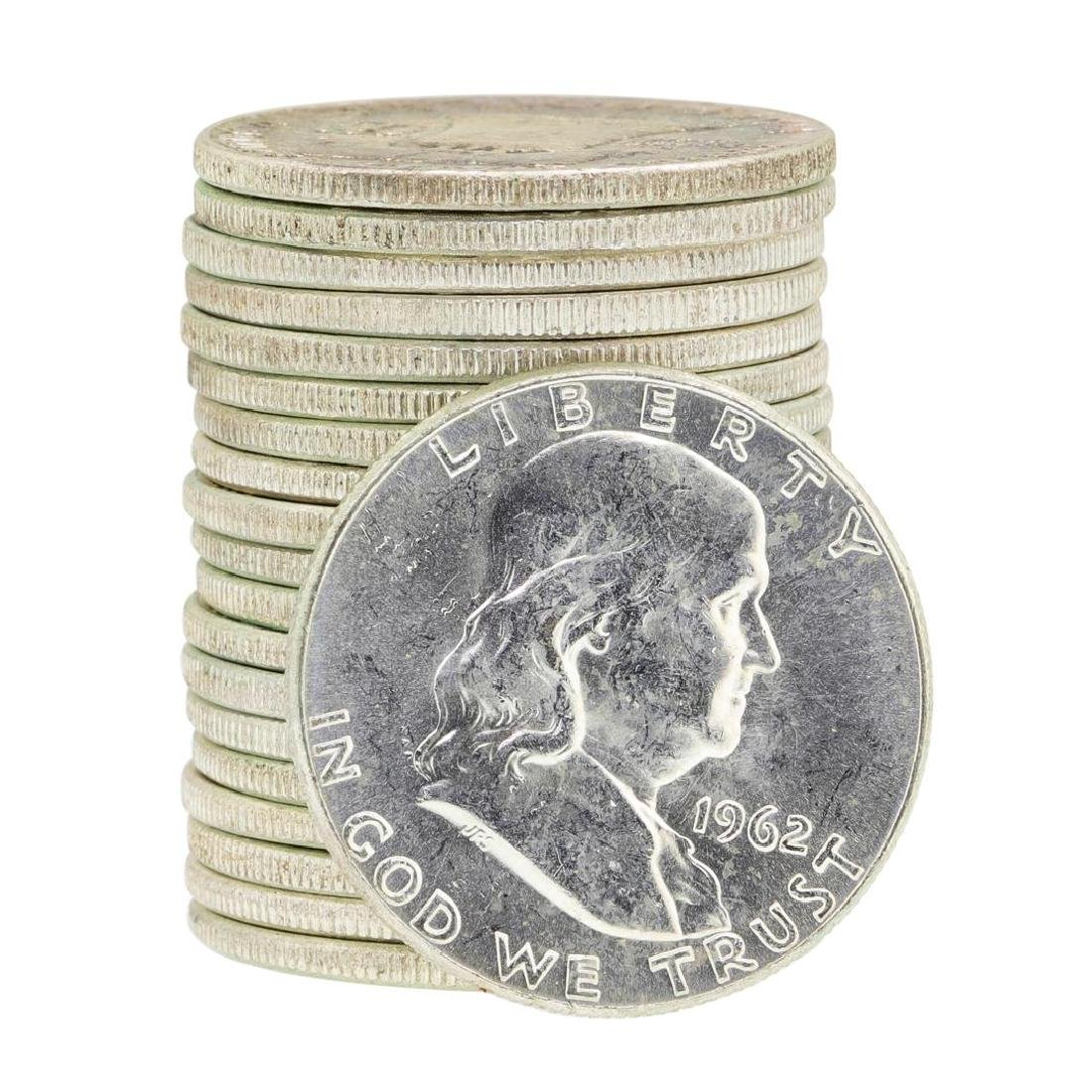 Tube of 20 1963 Franklin US Half Dollars