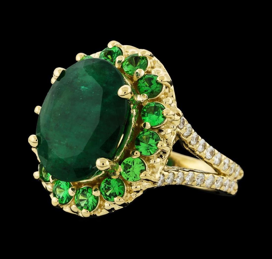 6.08 ctw Emerald, Tsavorite and Diamond Ring - 14KT