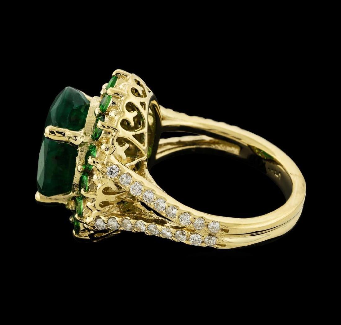 6.08 ctw Emerald, Tsavorite and Diamond Ring - 14KT - 3