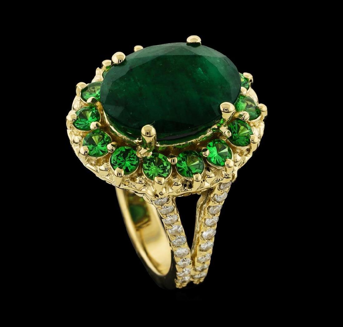 6.08 ctw Emerald, Tsavorite and Diamond Ring - 14KT - 4