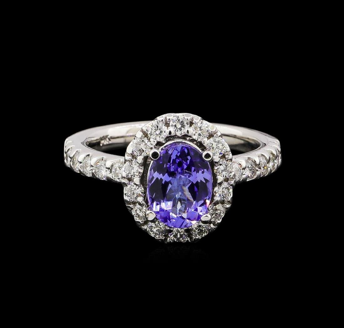 1.56 ctw Tanzanite and Diamond Ring - 14KT White Gold - 2