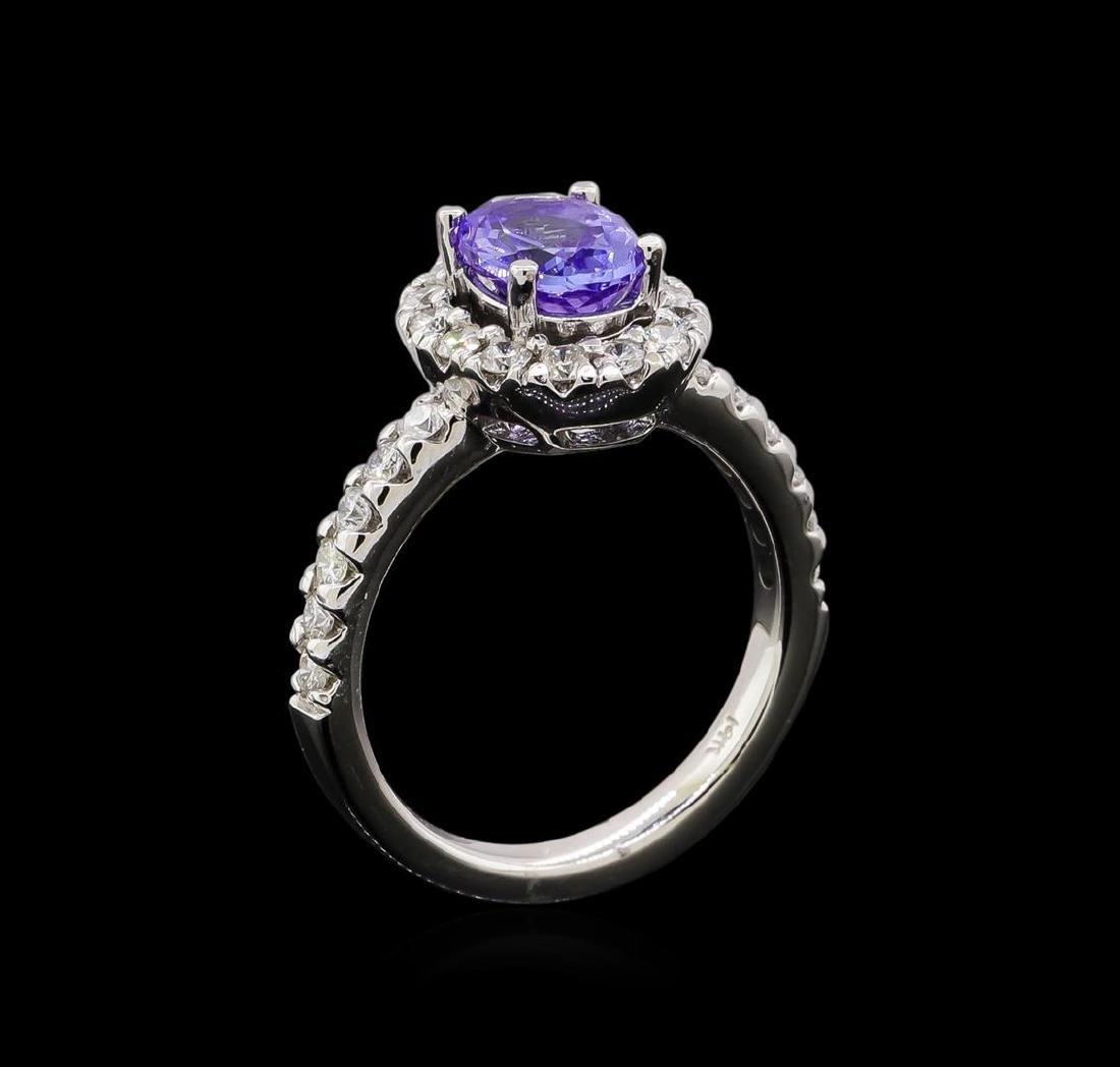 1.56 ctw Tanzanite and Diamond Ring - 14KT White Gold - 4