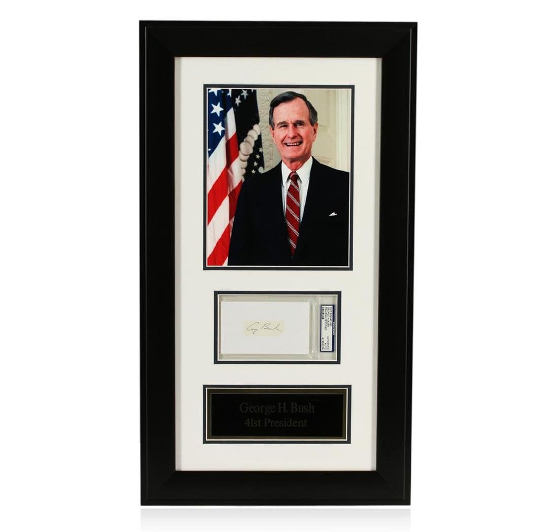 George H. Bush Signed Cut Display PSA Certified