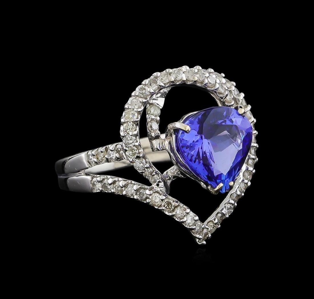 3.44 ctw Tanzanite and Diamond Ring - 18KT White Gold