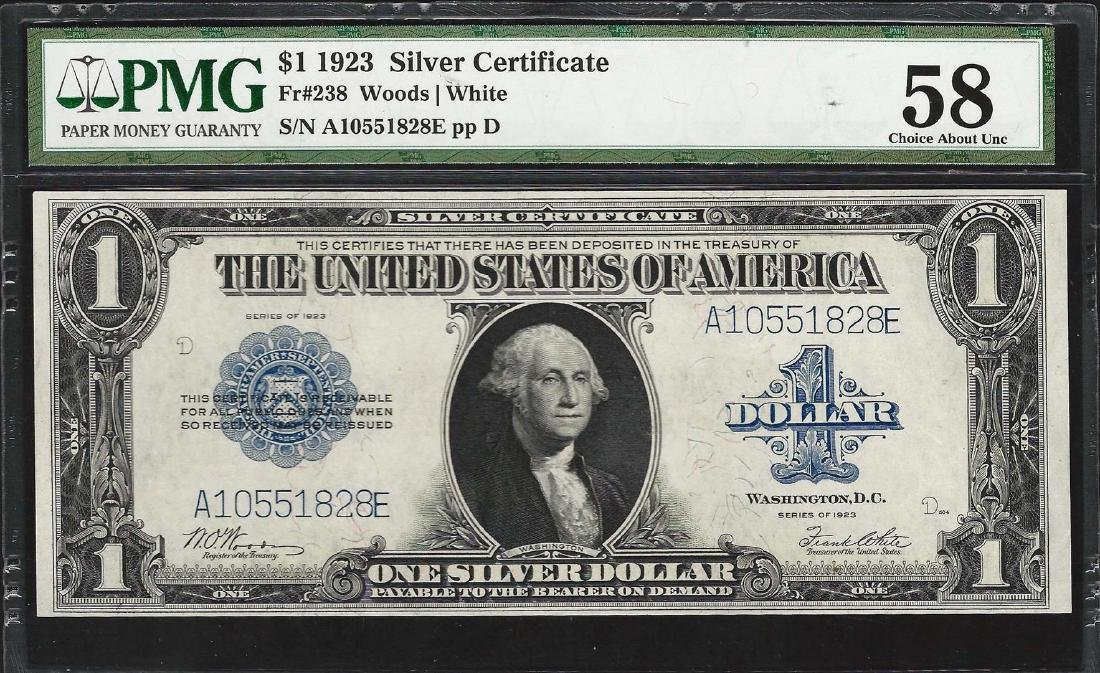 1923 $1 Silver Certificate Note Fr.238 PMG Choice About