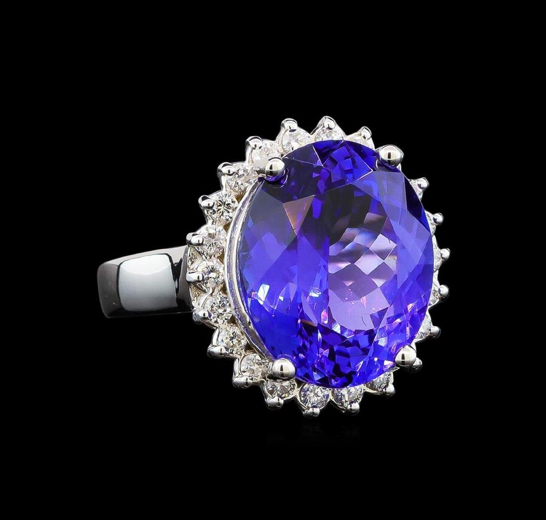 GIA Cert 10.17 ctw Tanzanite and Diamond Ring - 14KT