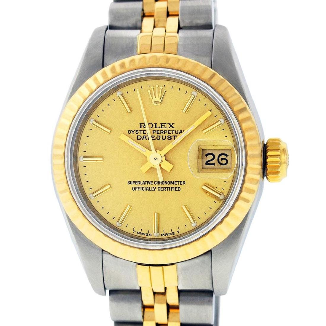 Rolex Ladies 2 Tone 14K Champagne Index Datejust