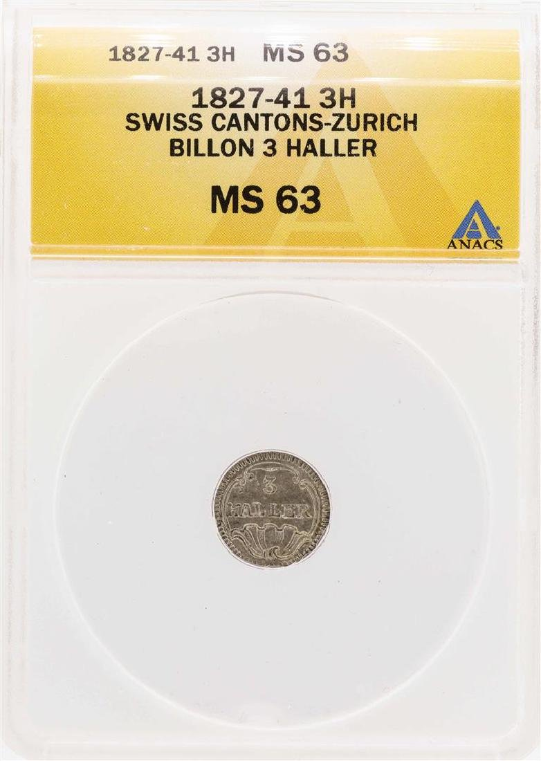 1827-41 Swiss Cantons-Zurich Billion 3 Haller Coin