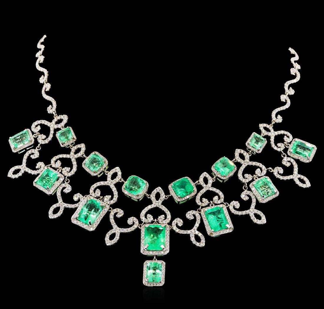 45.43 ctw Emerald and Diamond Necklace - 18KT White