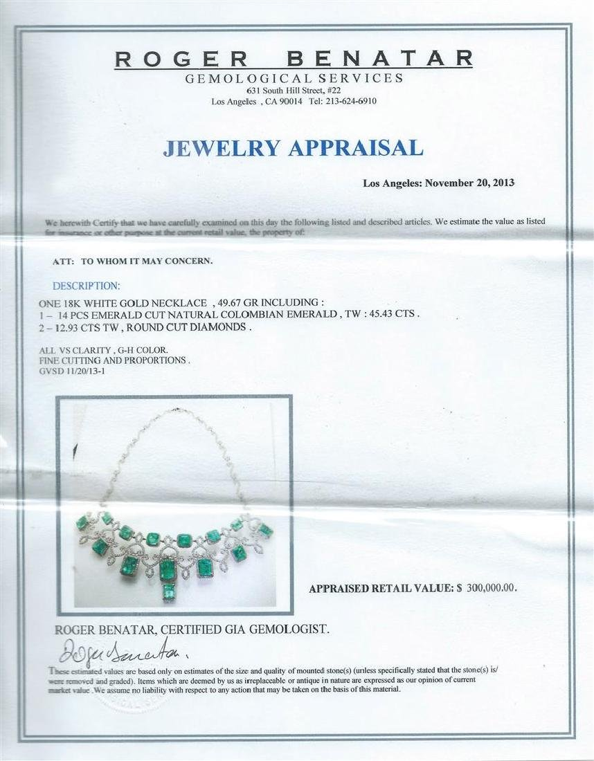 45.43 ctw Emerald and Diamond Necklace - 18KT White - 3