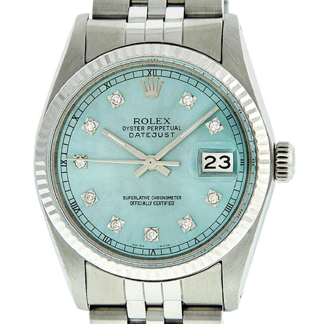 Rolex Mens Stainless Steel Ice Blue Diamond Datejust