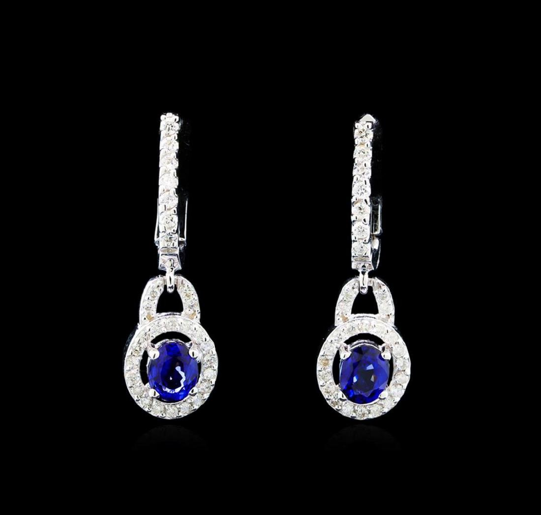 1.07 ctw Sapphire and Diamond Earrings - 14KT White