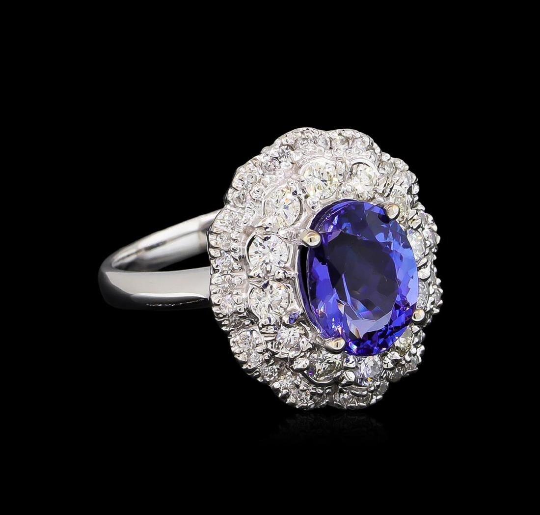 2.40 ctw Tanzanite and Diamond Ring - 14KT White Gold
