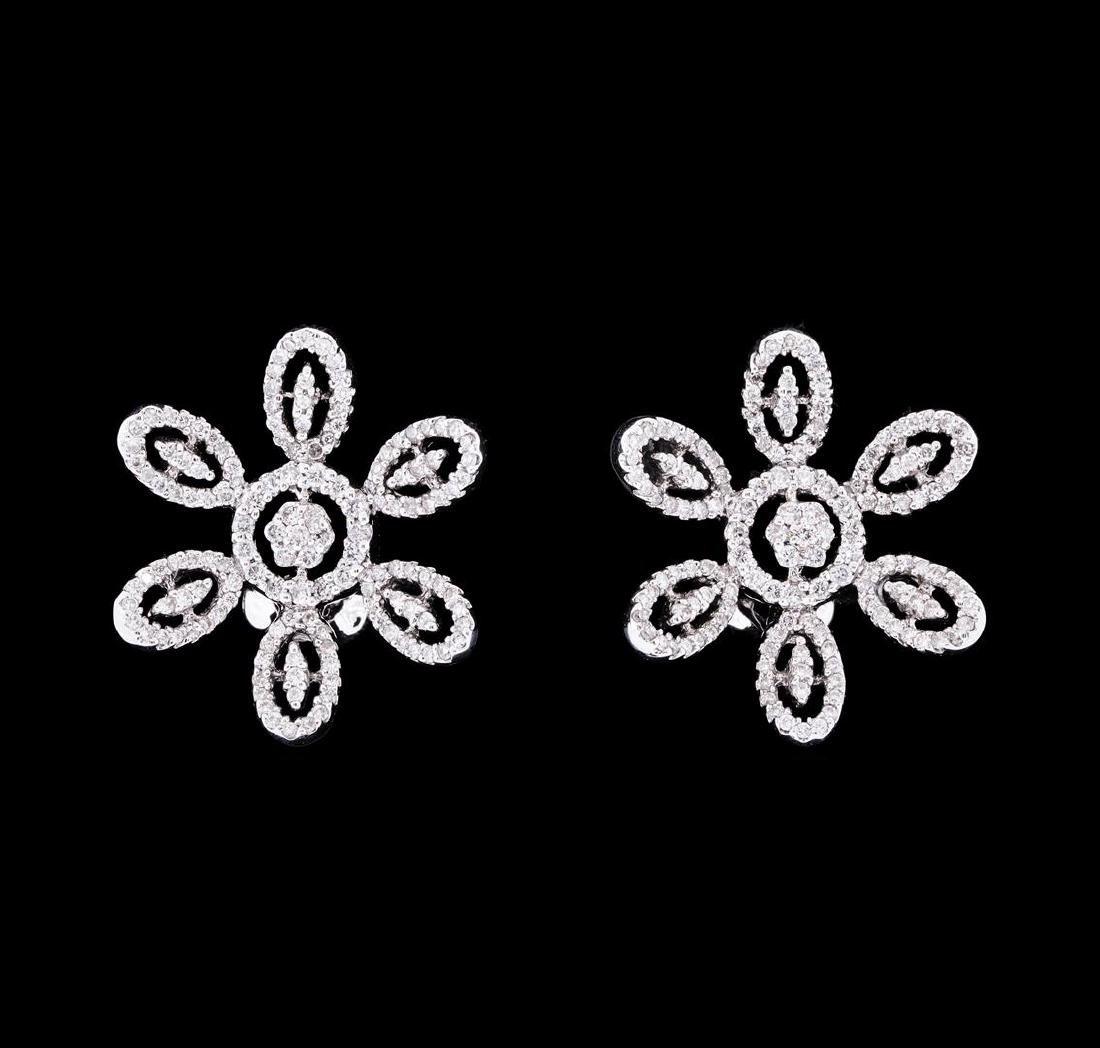 0.99 ctw Diamond Flower Burst Earrings - 18KT White