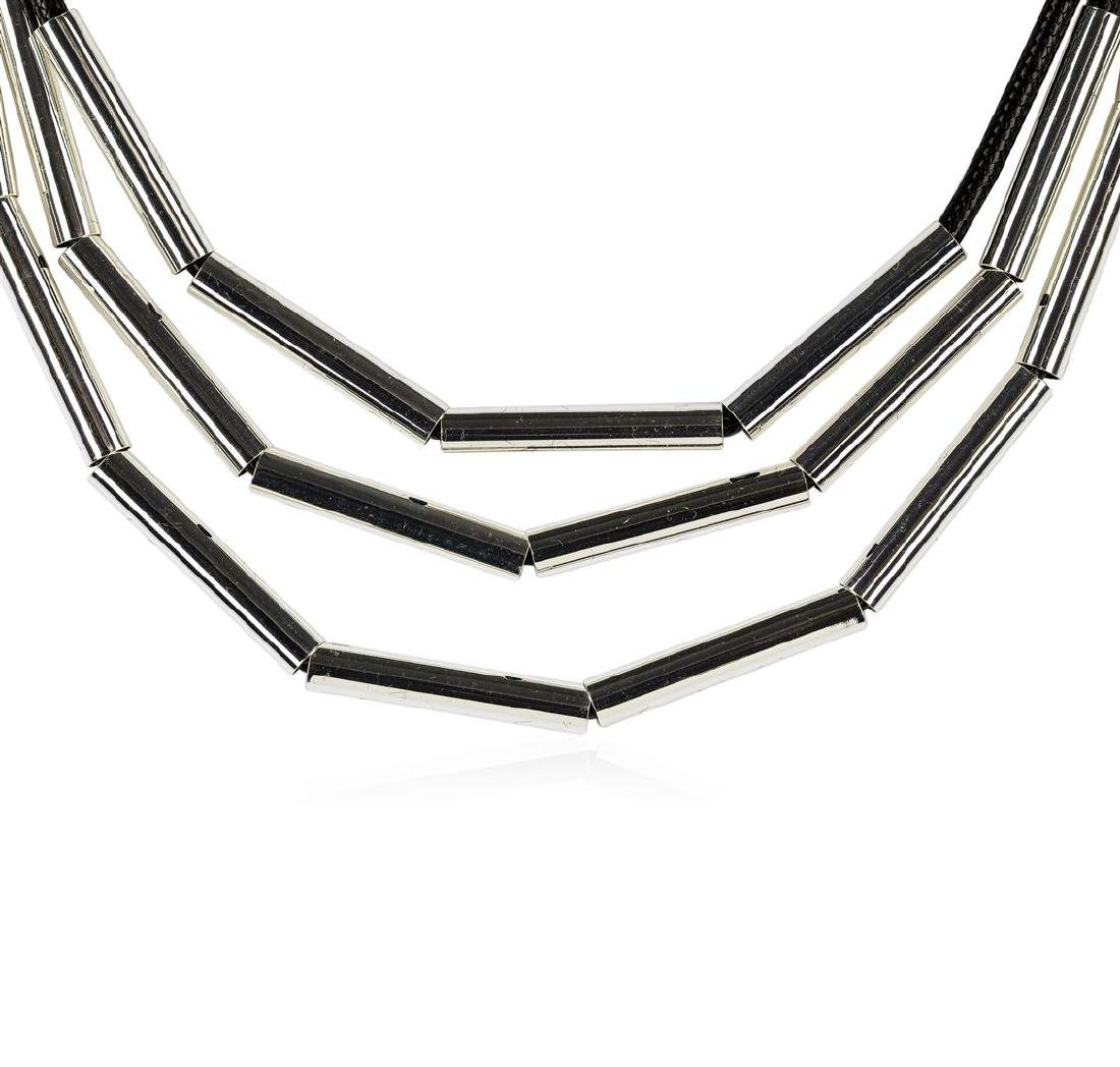 Strand Cord Necklace - Rhodium Plated