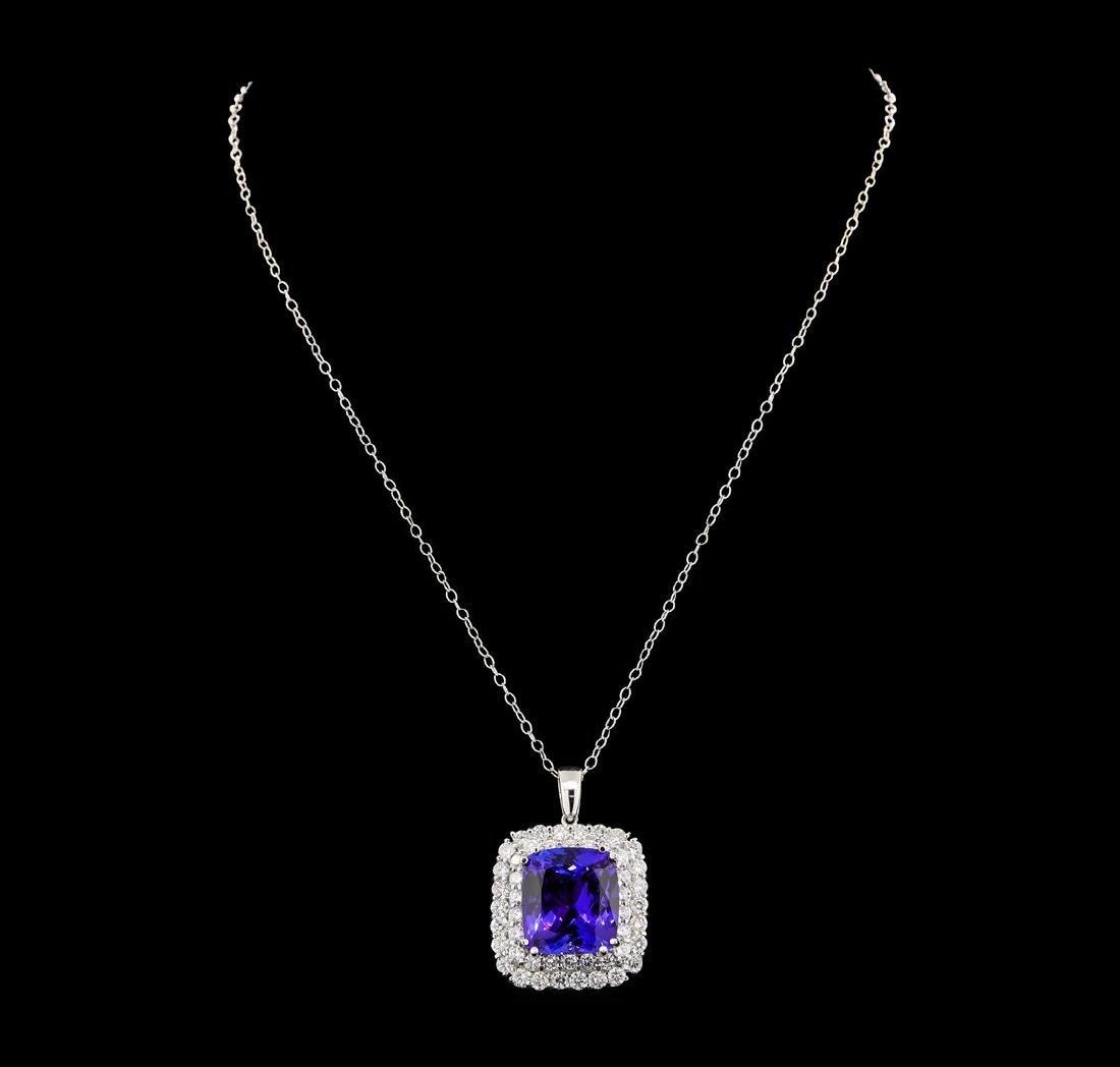 GIA Cert 21.07 ctw Tanzanite and Diamond Pendant With