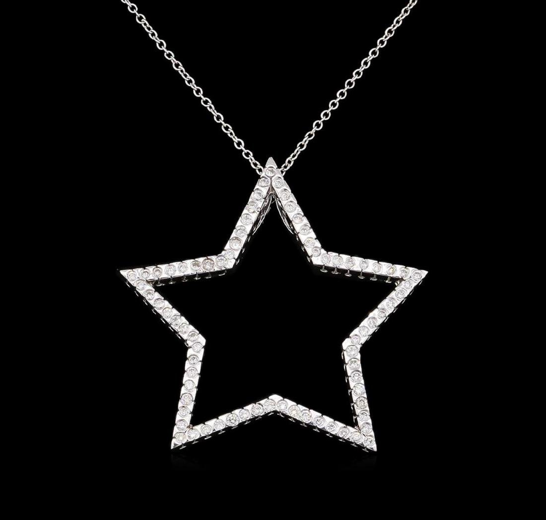 0.85 ctw Diamond Pendant With Chain - 14KT White Gold
