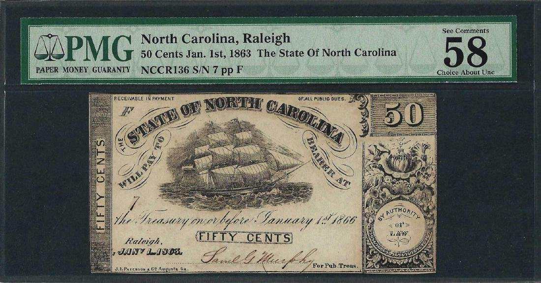 1863 50 Cent State of North Carolina Obsolete Note PMG