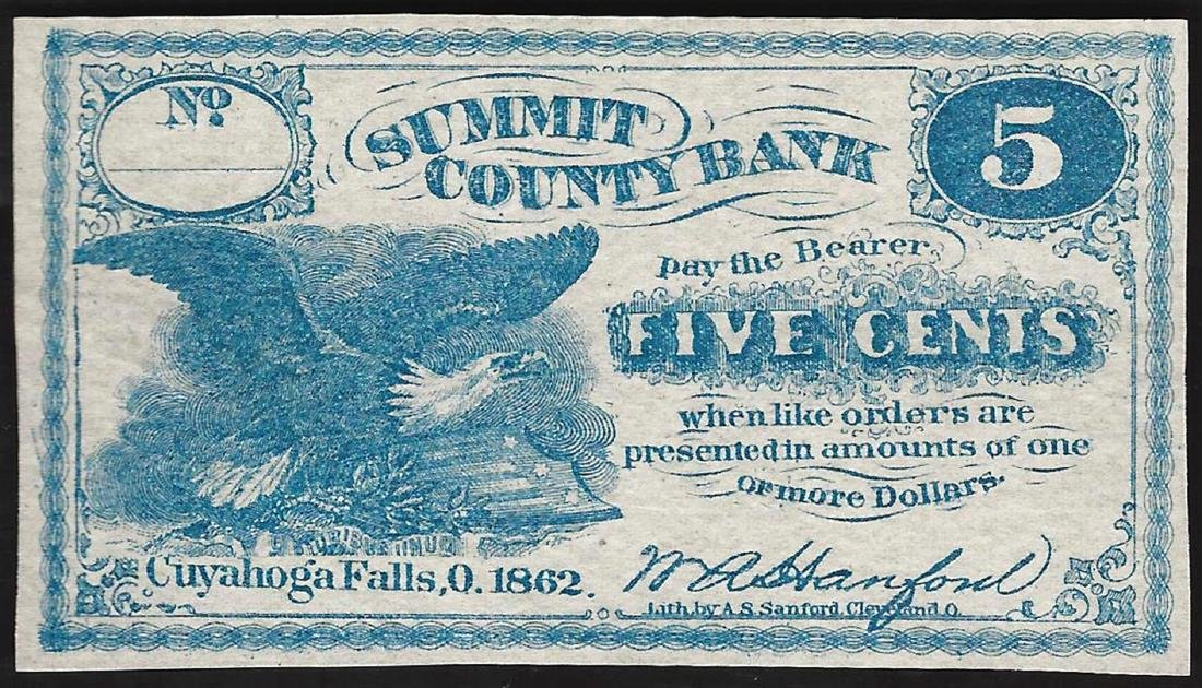 1862 Five Cents Summit County Bank Obsolete Note