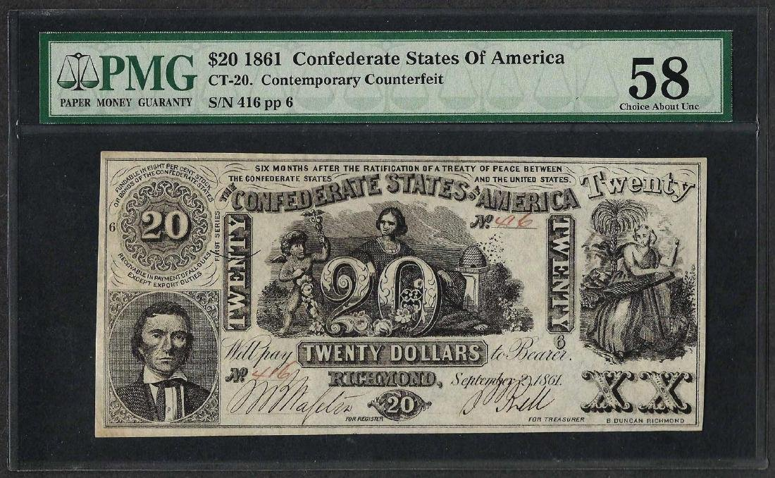 1861 $20 Contemporary Counterfeit Confederate States of