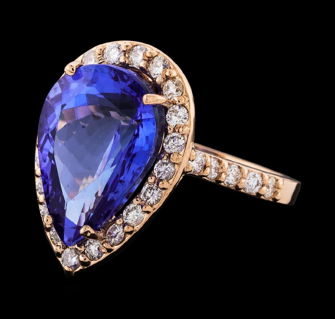 GIA Cert 8.88 ctw Tanzanite and Diamond Ring - 14KT