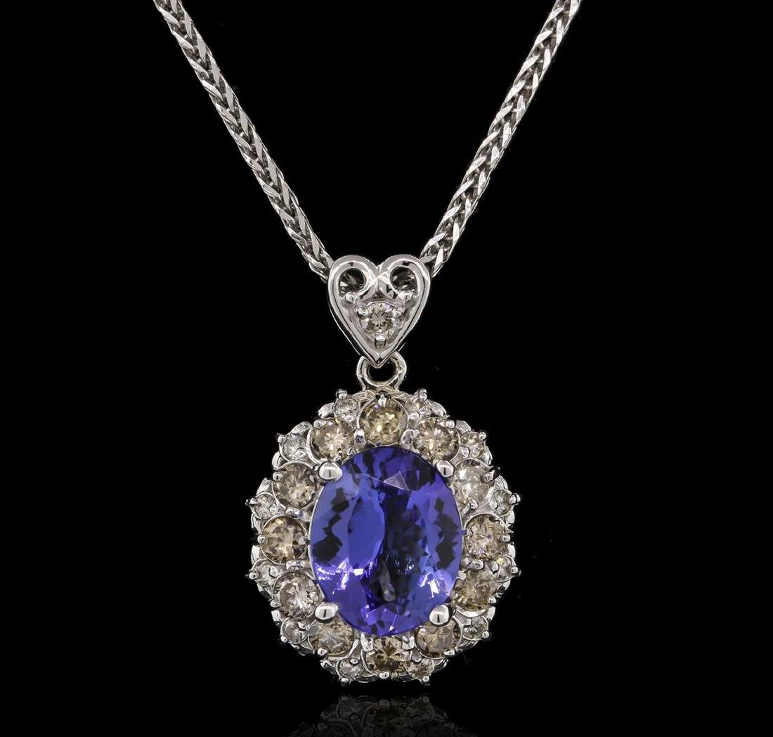 3.56 ctw Tanzanite and Diamond Pendant With Chain -
