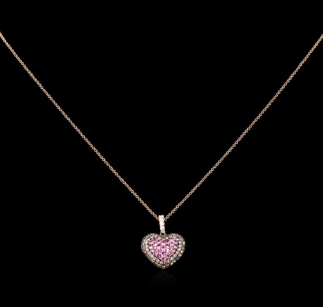 0.81 ctw Pink Sapphire and Diamond Pendant With Chain -