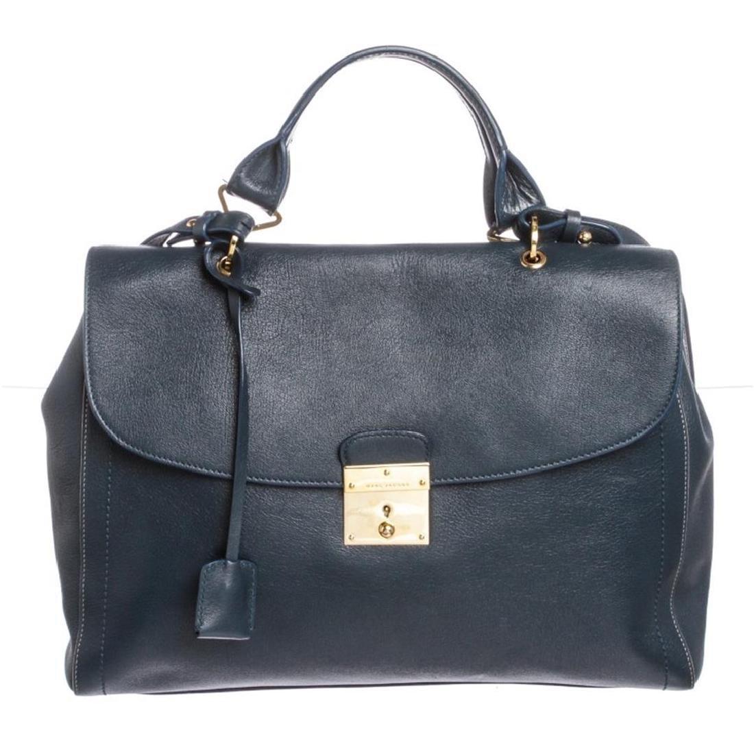 Marc Jacobs Blue Leather Flap Satchel Handbag
