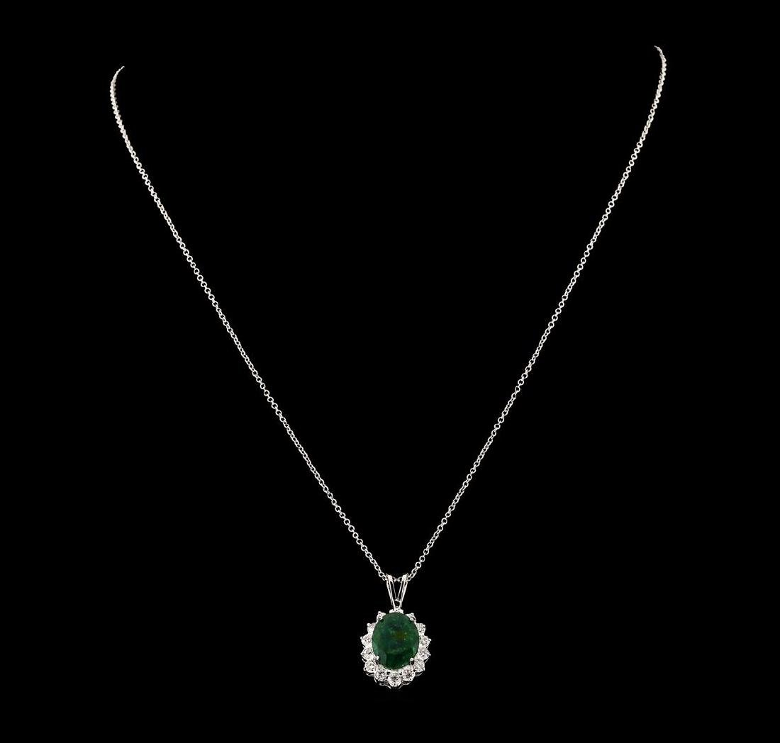 4.35 ctw Emerald and Diamond Pendant With Chain - 14KT