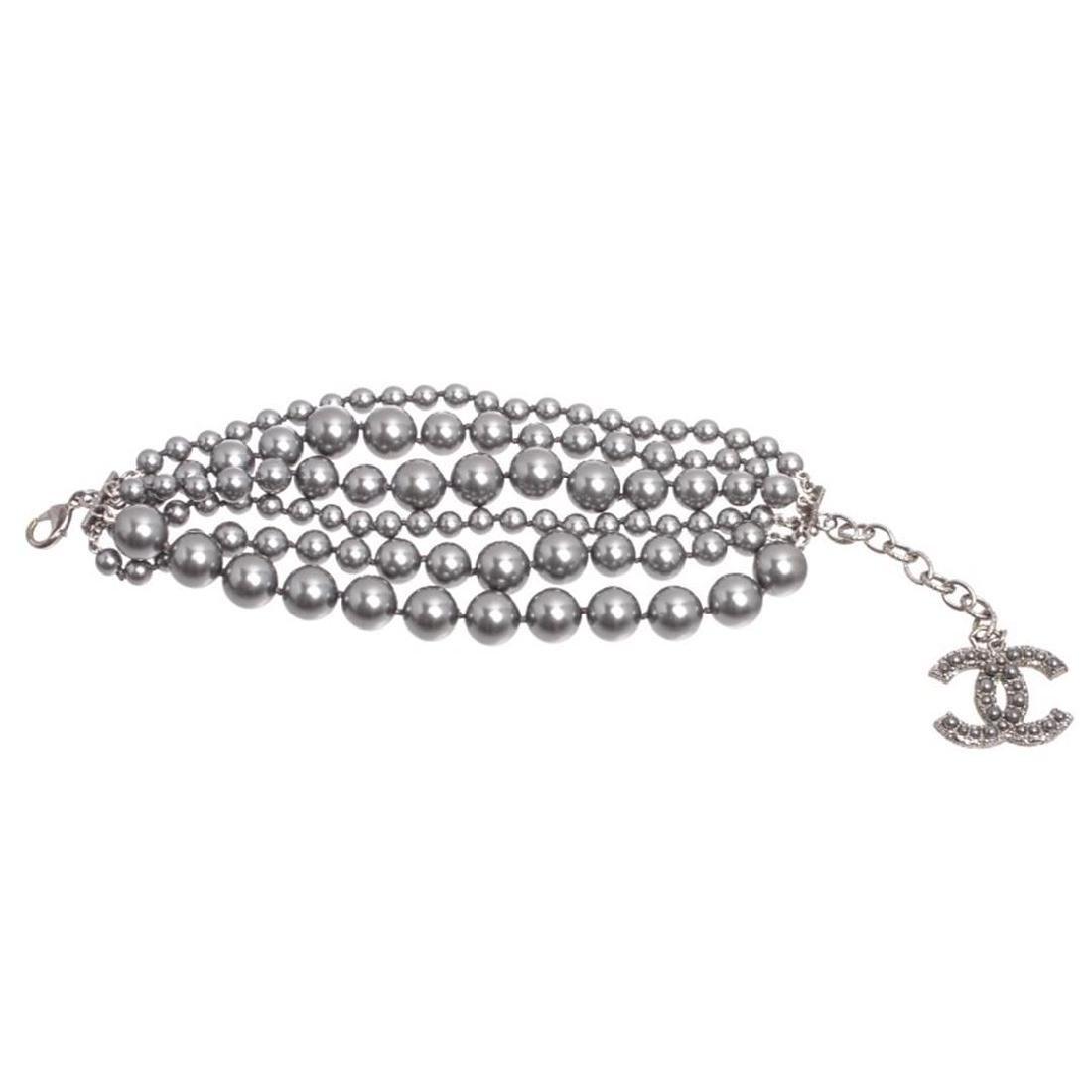 Chanel Metallic Gray Six Strand Faux Pearl Bracelet