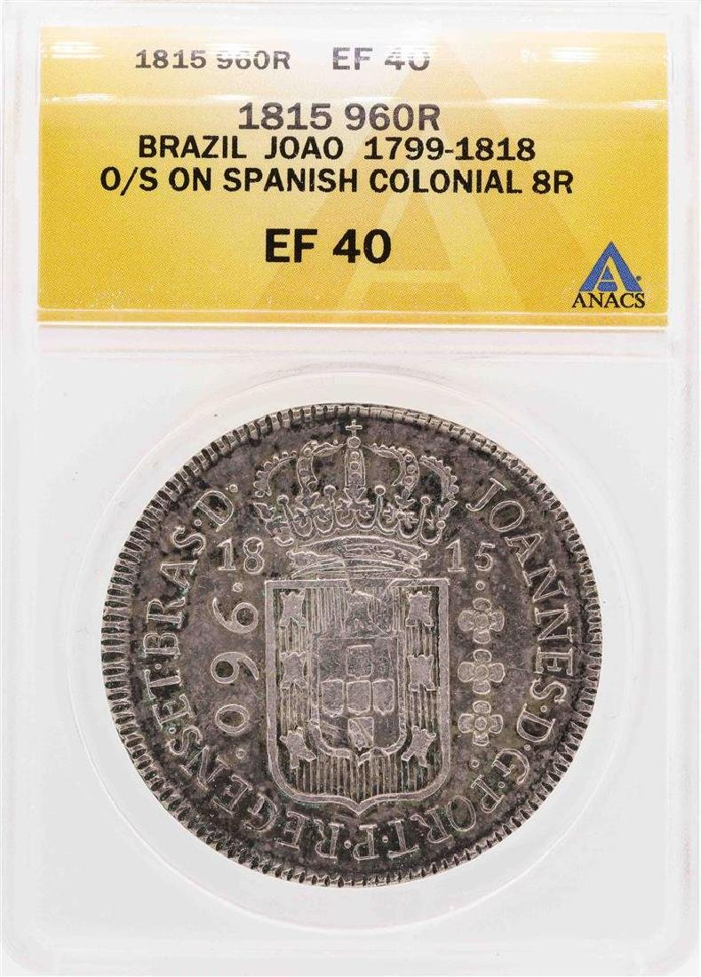 1815 Brazil Joao 960R O/S On Spanish Colonial 8 Reales