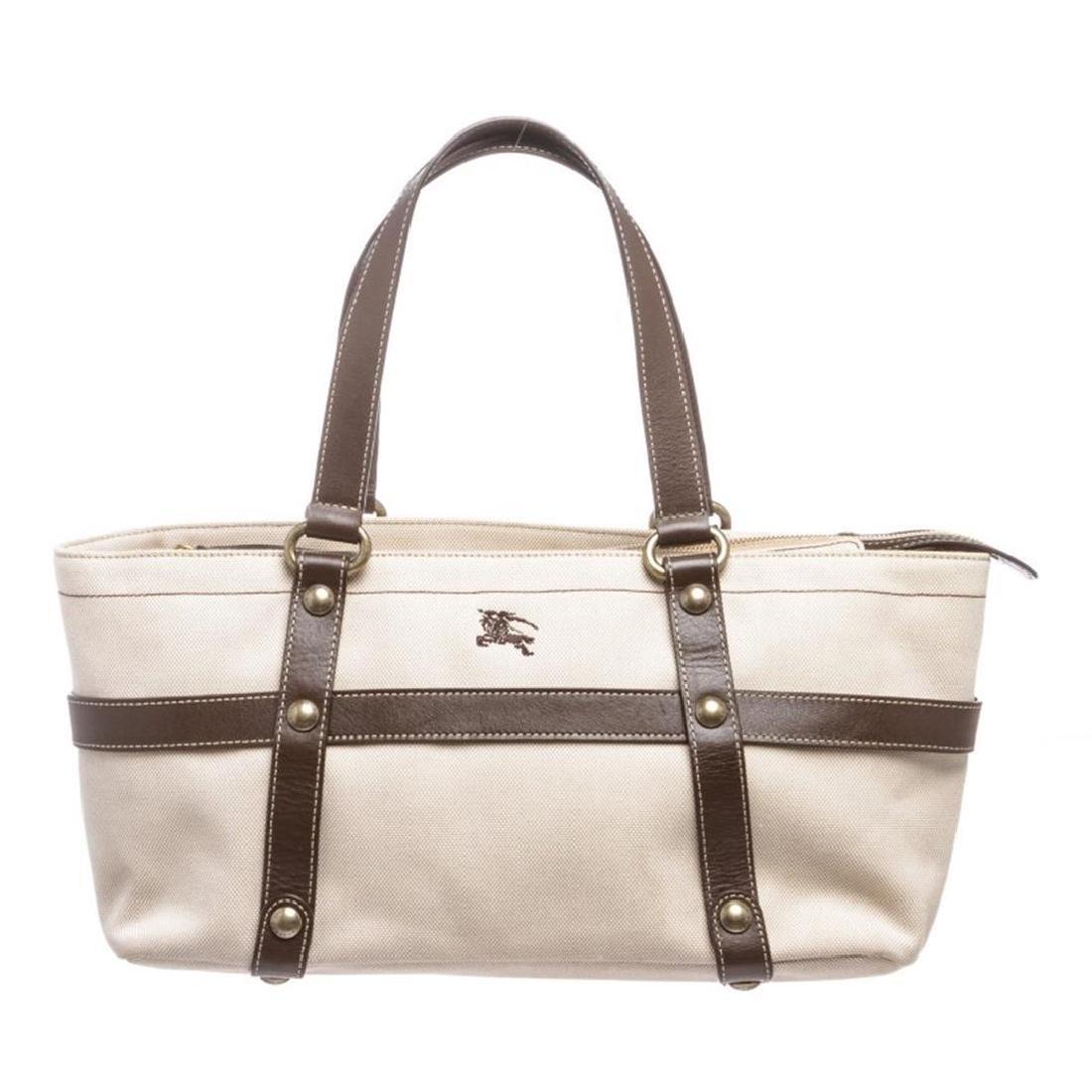 Burberry Beige Brown Canvas Leather Shoulder Bag
