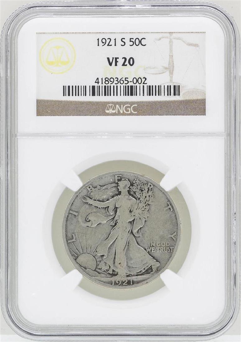 1921-S Walking Liberty Half Dollar Coin NGC VF20