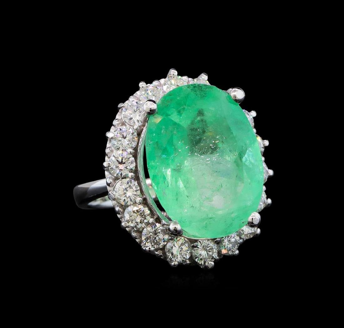 GIA Cert 16.24 ctw Emerald and Diamond Ring - 14KT