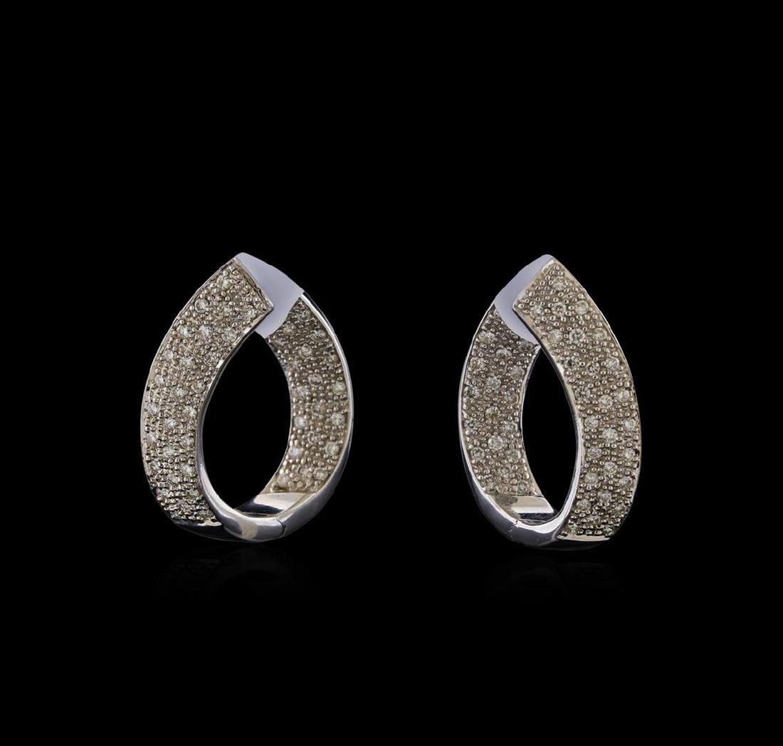 1.03 ctw Diamond Hoop Earrings - 14KT White Gold