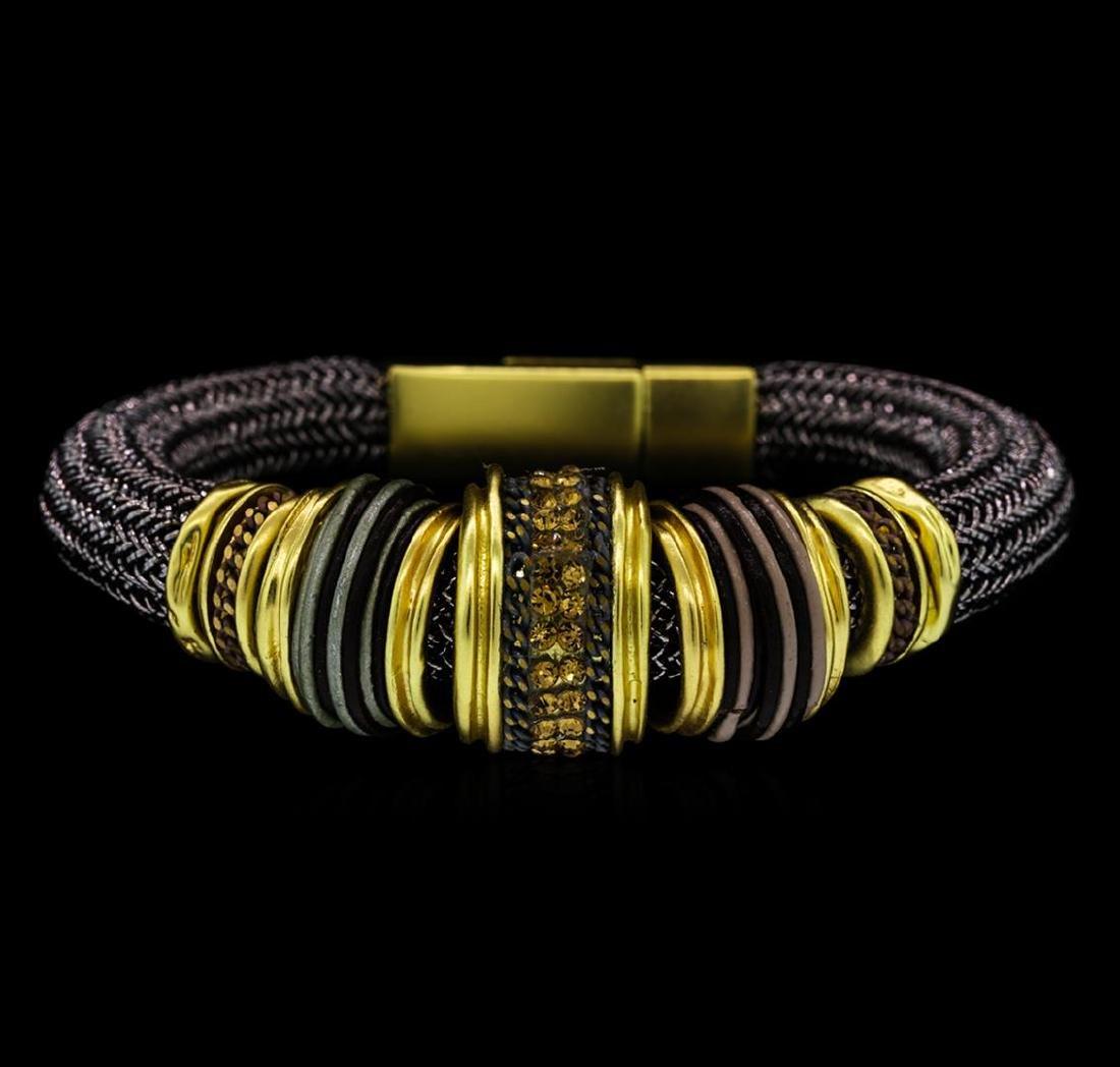 Multi Charm Design Lurex Bracelet - Gold Plated