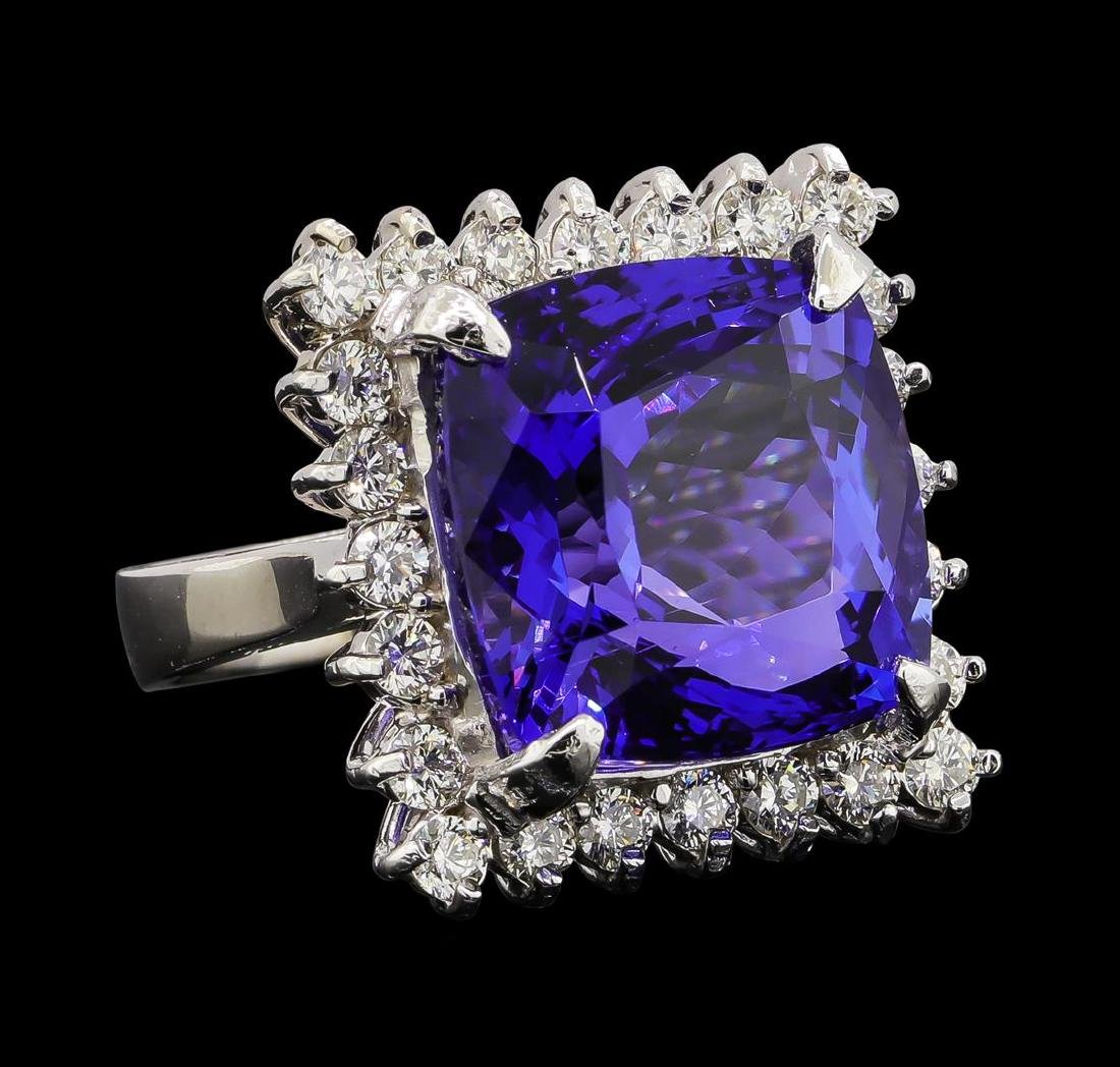 GIA Cert 17.69 ctw Tanzanite and Diamond Ring - 14KT