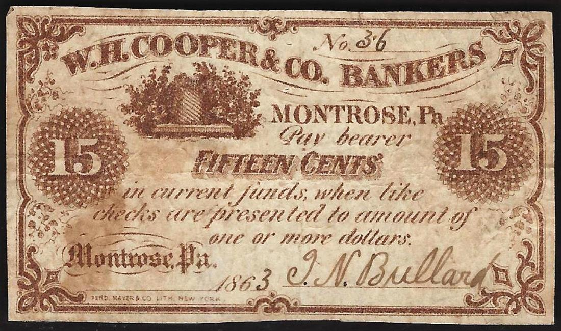 1863 Fifteen Cents W.H. Cooper & Co. Bankers Obsolete
