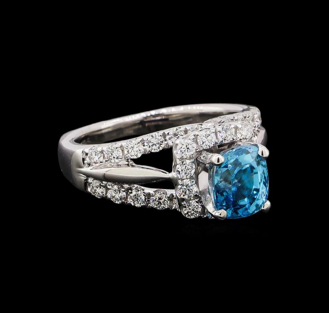 2.56 ctw Blue Zircon and Diamond Ring - Platinum and