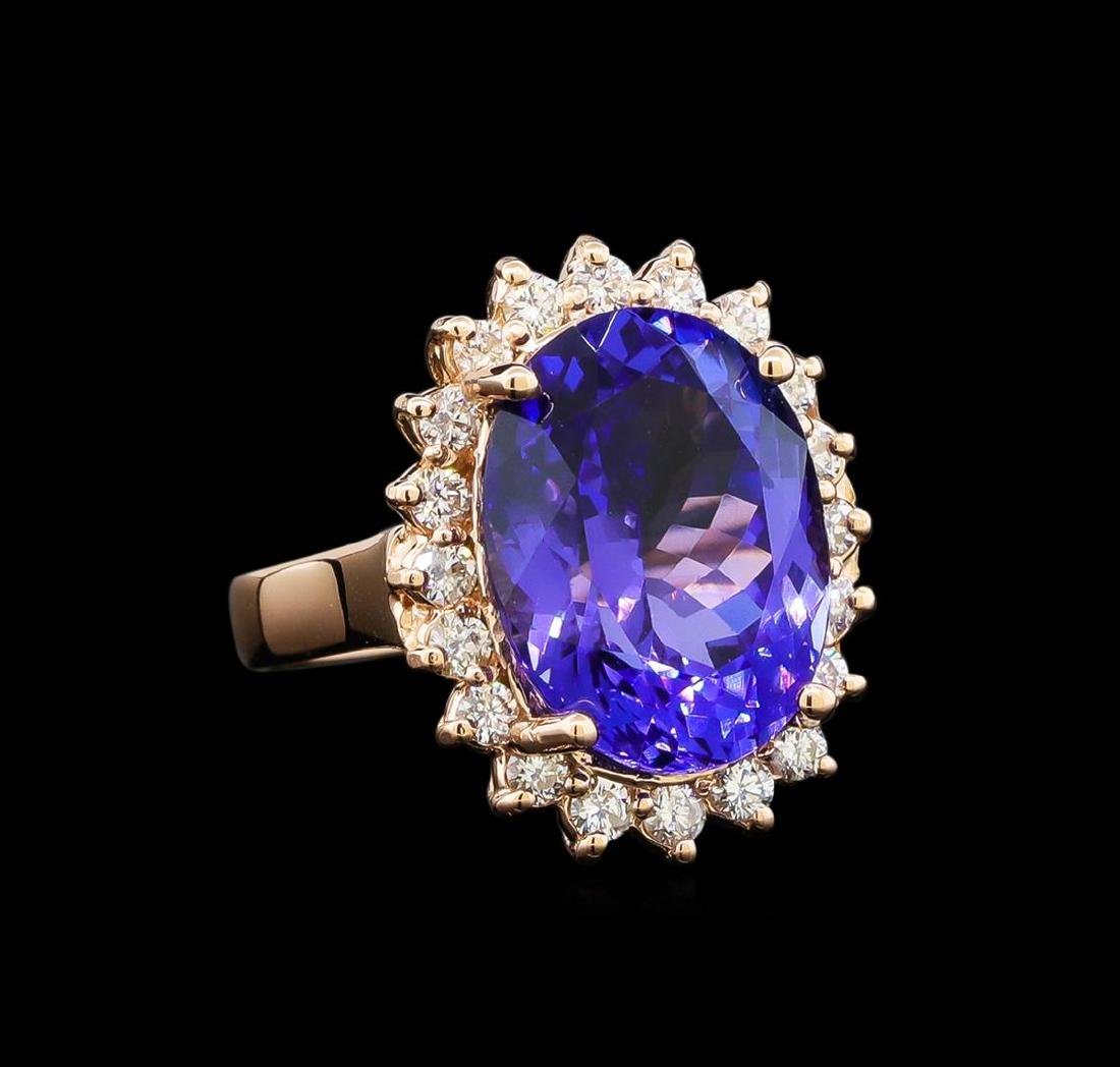 GIA Cert 8.31 ctw Tanzanite and Diamond Ring - 14KT