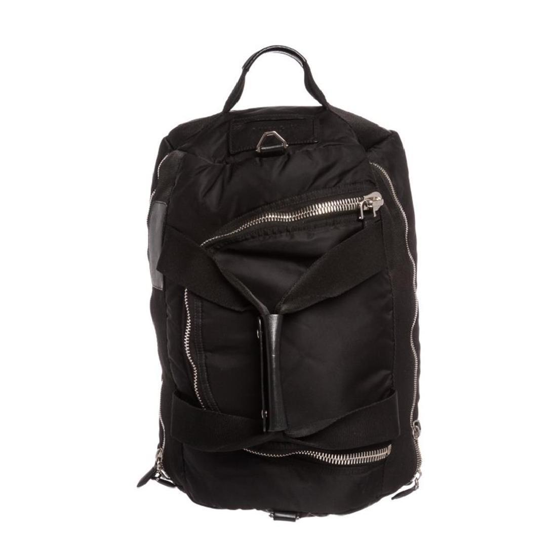 Givenchy Black Nylon Leather Trim Duffle Backpack