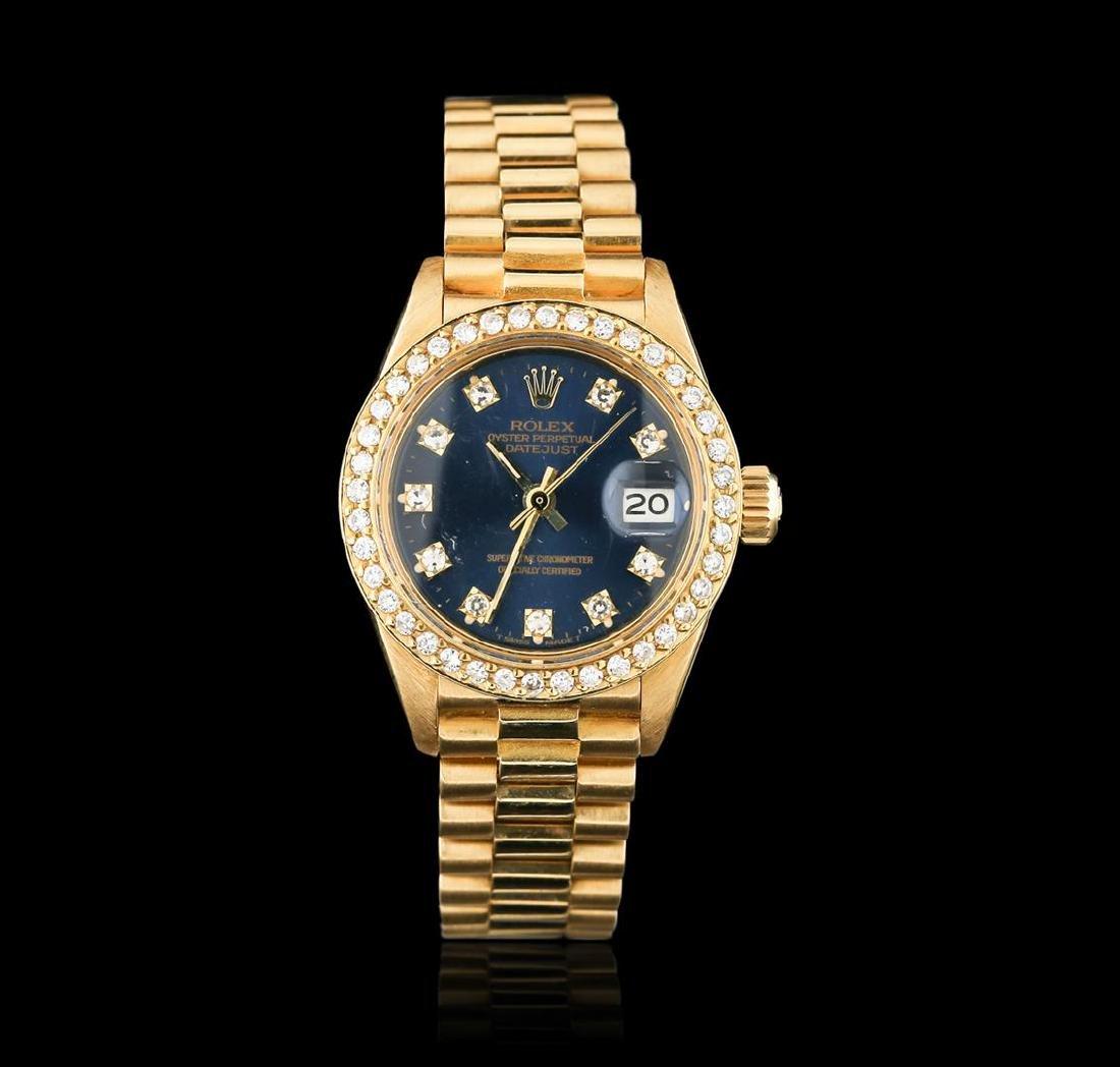Rolex President 18KT Gold Diamond DateJust Ladies Watch