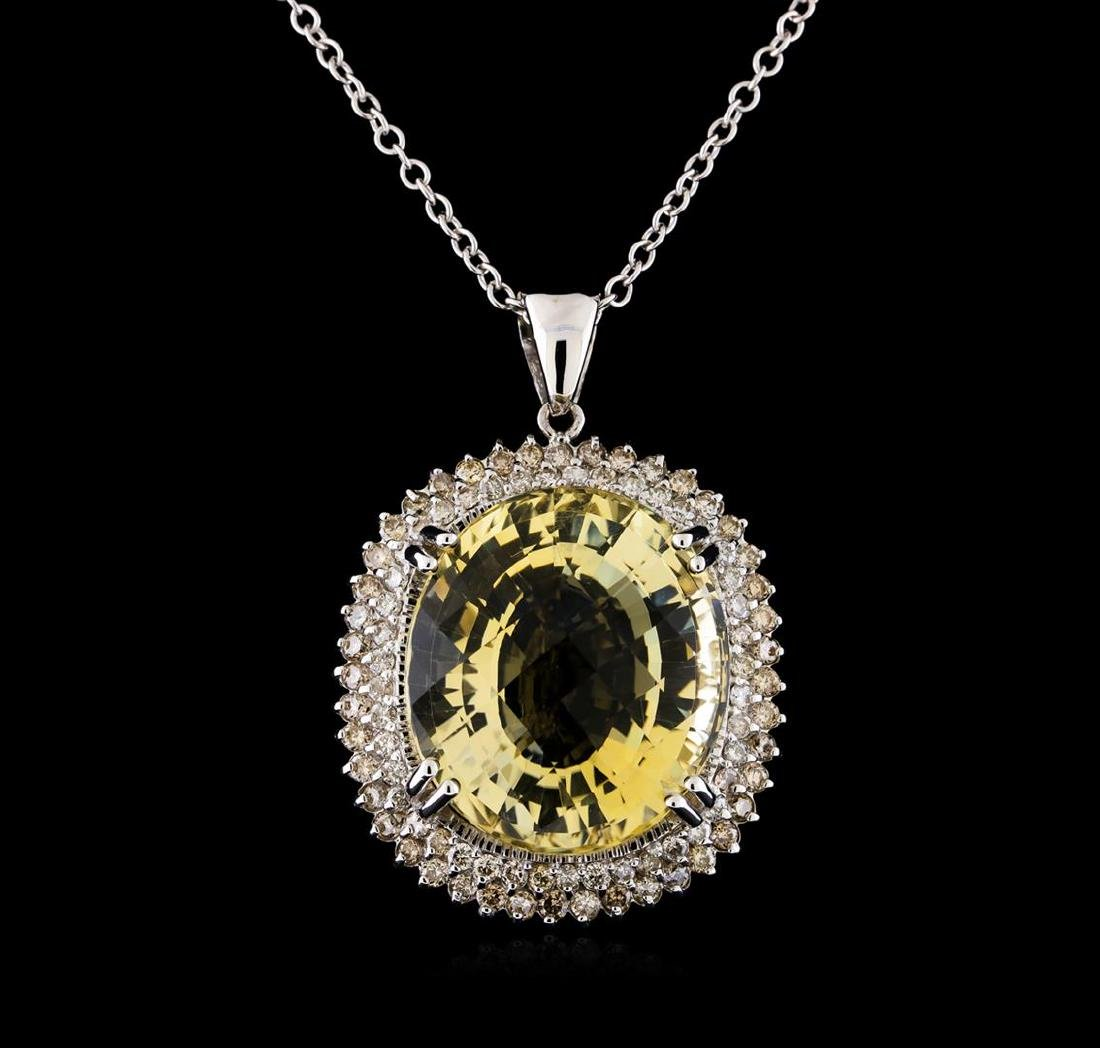22.75 ctw Citrine and Diamond Pendant With Chain - 14KT