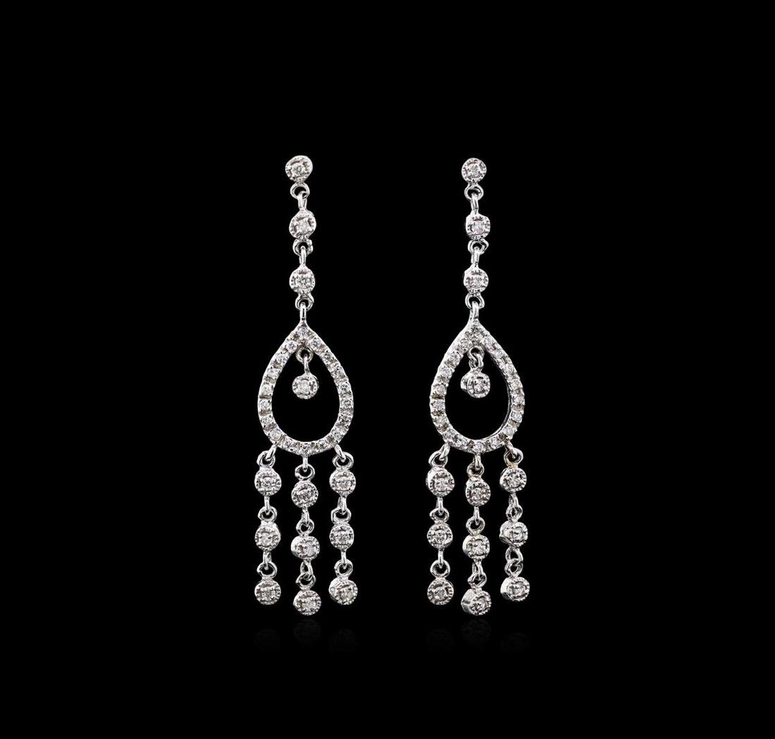 1.15 ctw Diamond Earrings - 18KT White Gold
