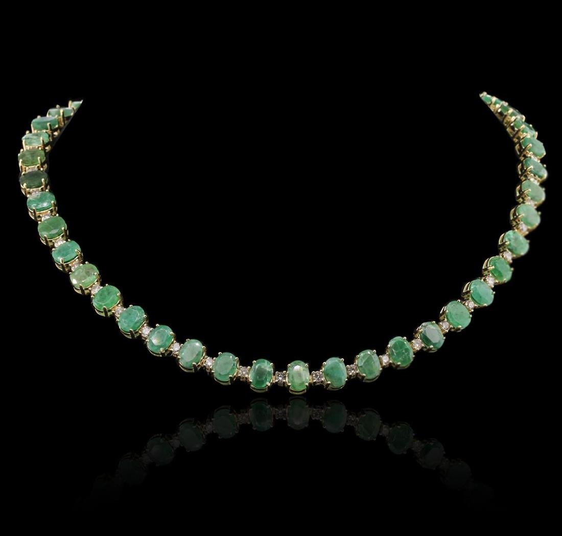 14KT Yellow Gold 37.26 ctw Emerald and Diamond Necklace - 2