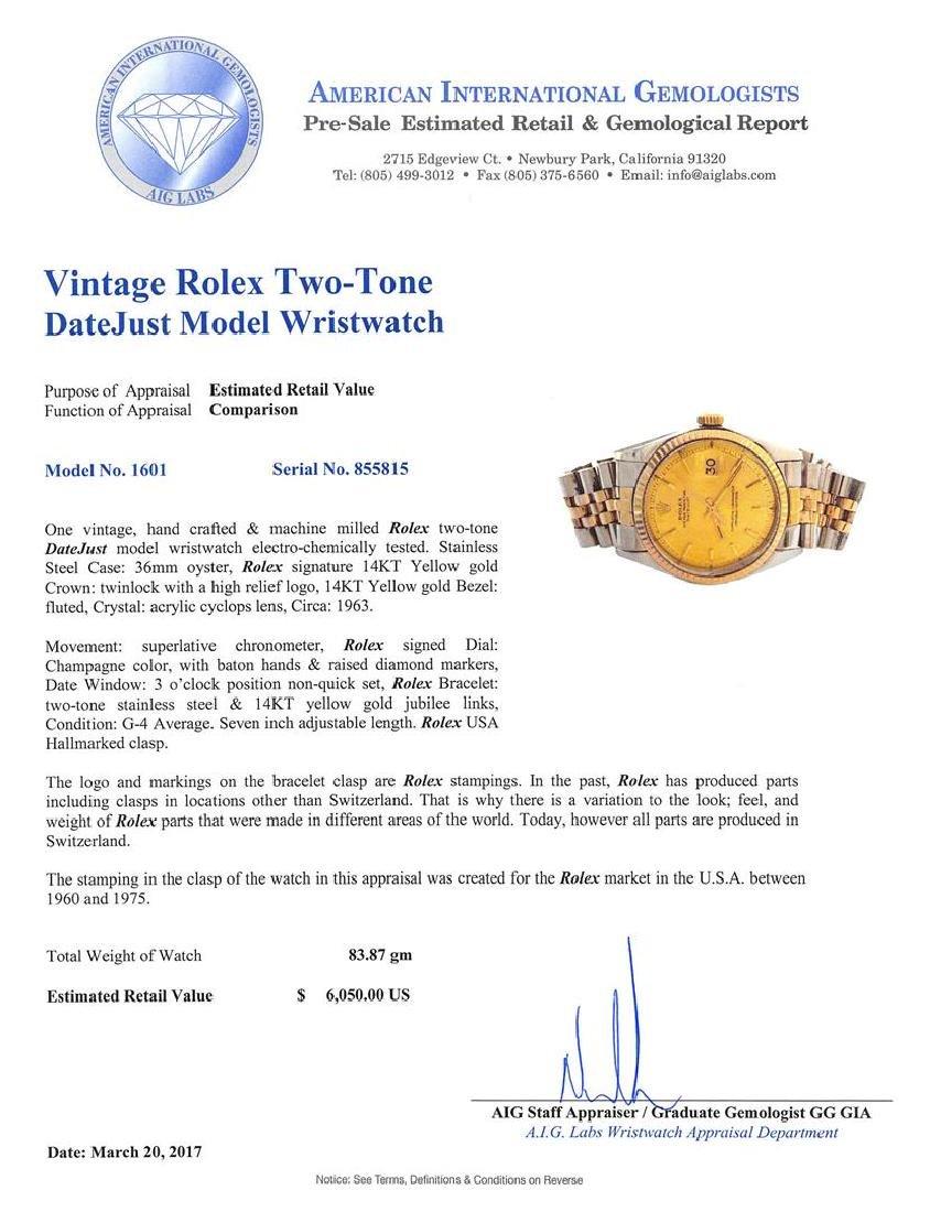 Vintage Rolex Two-Tone DateJust Wristwatch - 4